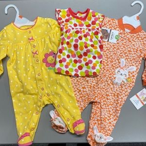 Carter's Dress & 2 Footed Pajamas 0-3 Months NWT